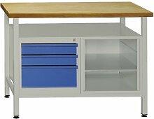 Werkbank mit 3 Schubladen und einem Regalteil (inkl. 1 Fachboden), 1200x600x840 mm