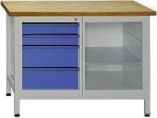 Werkbank mit 4 Schubladen und 1 Regalteil (inkl. 1 Fachboden), 1200x600x840 mm