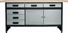 Werkbank mit 6 kugelgelagerten Schubladen, 2 Türen und einer stabilen Holzarbeitsplatte 40 mm