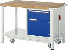 Werkbank mit absenkbarem Fahrgestell, BxTxH 1000x7 00x880 mm, 1 Schublade 180 mm, 1 Tür 360 mm, Buche