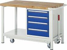 Werkbank mit absenkbarem Fahrgestell, BxTxH 1000x7 00x880 mm, 4 Schubladen 2x120/2x150 mm, Buche-Mass