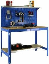 Werkbank mit Lochwand und klappbarer Ablage, bt-3900blau, 1440x 900x 600mm, Simonrack