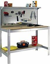 Werkbank mit Lochwand und klappbarer Ablage, bt-3900Verzinkt, 1440x 900x 600mm, Simonrack