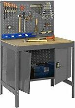 Werkbank mit Lochwand und Werkzeugschrank in Dunkelgrau/Holz - Maße: 144 x 60 cm (H x T)