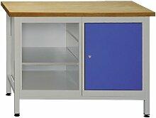 Werkbank mit Tür und Regalteil (inkl. 2 Fachböden), 1200x600x840 mm