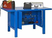 Werkbank mit Werkzeugschrank und Lochwand BT-6 Metall Locker 1500, Farbe: Blau, Maße: 83 x 150 x 73 cm (H x B x T), Traglast: 800 kg