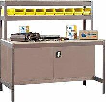 Werkbank mit Werkzeugschrank und Lochwand in Dunkelgrau/Holz - Maße: 144 x 75 cm (H x T)