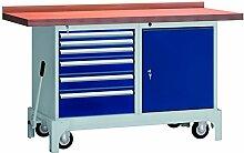 Werkbank Montagetisch fahrbar 1500x700x871 LxTxH mit 6 Schubladen 1 Schrank 1 Kipphebelsystem