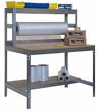 Werkbank / Packtisch BT-4 1500 Verzinkt / Holz, Maße: 144 x 150 x 75 cm (H x B x T), Traglast: 600 kg mit Aufbau und Stange