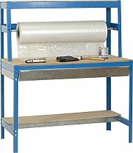 Werkbank / Packtisch BT-4 Box 900 Blau / Holz, Maße: 144 x 90 x 75 cm (H x B x T), Traglast: 400 kg mit Aufbau, verzinkter Schublade und Stange