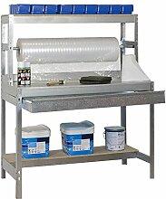 Werkbank / Packtisch BT-4 Locker 1200 Verzinkt / Holz, Maße: 144 x 120 x 75 cm (H x B x T), Traglast: 600 kg mit Aufbau, Stange und verzinkter Schublade