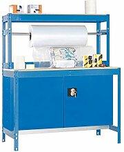 Werkbank / Packtisch BT-4 Locker 900 Blau / Holz, Maße: 144 x 90 x 75 cm (H x B x T), Traglast: 400 kg mit Aufbau, Stange, Werkzeugschrank und Lochwand