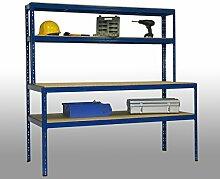 Werkbankregal Professional HxBxT: 180x180x80cm, 2 Böden: 180x80cm, 2 Böden: 180x30, 350kg, blau, Marke: Szagato (Werkbank Regal