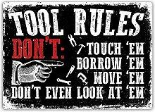 Werkzeug Rules (schwarz)–Metall Wandschild