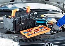 Werkzeugbox Kunststoff mit Innenteiler und Kleinteilemagazinen