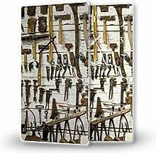 Werkzeuge - Lautlose Wanduhr mit Fotodruck auf Polycarbonat | geräuschlos kein Ticken Fotouhr Bilderuhr Motivuhr Küchenuhr modern hochwertig Quarz | Variante:30 cm x 60 cm mit schwarzen Zeigern - GERÄUSCHLOS