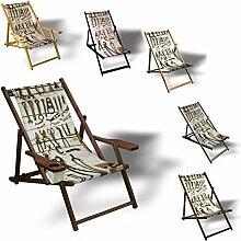 Werkzeuge - Liegestuhl bedruckt Balkon Garten Sonnenliege Relax Holz Terrasse, Variante:mit Armlehne. Natur