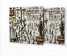 Werkzeuge - Moderne Wanduhr mit Fotodruck auf Leinwand Keilrahmen | Fotouhr Bilderuhr Motivuhr Küchenuhr modern hochwertig Quarz, Variante:30 cm x 30 cm mit weißen Zeigern