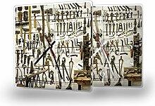 Werkzeuge - Moderne Wanduhr mit Fotodruck auf Polycarbonat | Fotouhr Bilderuhr Motivuhr Küchenuhr modern hochwertig Quarz, Variante:30 cm x 30 cm mit schwarzen Zeigern