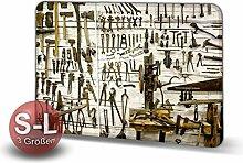 Werkzeuge - Schmutzmatte Bodenvorleger Fußmatte Türmatte Abtreter Abstreifer gekettelter Rand Rutschfest waschbar individuell | Mattengröße: 80 cm x 60 cm