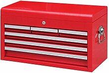 Werkzeugkiste, Aufsatz, groß, mit 6 Schubladen, ro