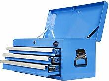 Werkzeugkiste mit 3 Schubladen & Ablagefach - Blau