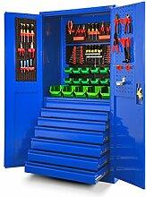 Werkzeugschrank TC007 Werkstattschrank Garagenschrank Universalschrank Lagerschrank Pulverbeschichtet Flügeltüren Stahlblech 185 cm x 92 cm x 50 cm (blau)