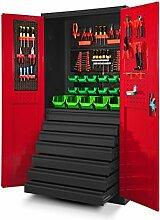 Werkzeugschrank TC007 Werkstattschrank Garagenschrank Universalschrank Lagerschrank Pulverbeschichtet Flügeltüren Stahlblech 185 cm x 92 cm x 50 cm (anthrazit/rot)