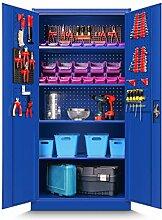 Werkzeugschrank TC01A Werkstattschrank Garagenschrank Universalschrank Lagerschrank Pulverbeschichtet Flügeltüren Stahlblech 180 cm x 90 cm x 50 cm (blau)