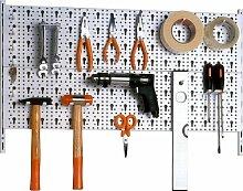 Werkzeugwand Lochwand Werkzeughalter Set Regal Werkzeugregal WEISS erweiterbar - made in Germany