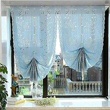 WERM® Tulle Vorhänge Leinen Fenster schiere Vorhänge Einfach für Bay Eindow Balkon Ziehen Sie den Fan Ballon römischen Vorhang 1 PCS , blue , width 83cm* high 235cm
