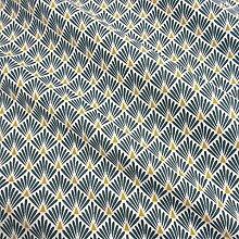 Werthers Stoffe Stoff Meterware Baumwolle indigo Raute Fächer beschichtet Japan Tischdecke abwaschbar