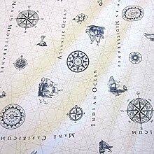 Werthers Stoffe Stoff Meterware Baumwolle weiß Seekarte Nautik beschichtet Tischdecke abwaschbar