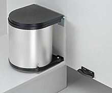 Wesco 11 L Abfalleimer - silber/schwarz - Küchen Mülleimer Abfallsammler