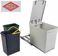 Wesco Einbau Abfallsammler 2x7,5 L grau Mülleimer Müllsammler Abfalleimer Auszug