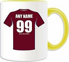West Ham United Tasse im Design des Fußballclubs, personalisierbar, keramik, gelb