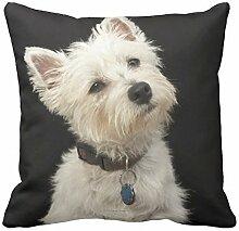 Westie West Highland Terrier mit Kragen Kissen
