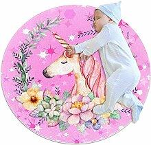 Wetia Mädchen rosa Einhorn Runder Teppich für