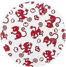 Wetia Roter AFFE Runder Teppich für Kinder,