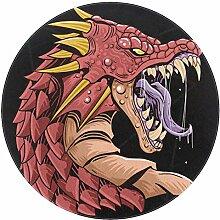 Wetia Roter Drache brüllt Runder Teppich für
