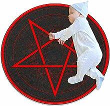 Wetia Roter Pentagrammkreis Runder Teppich für