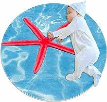 Wetia Roter Seestern Runder Teppich für Kinder,