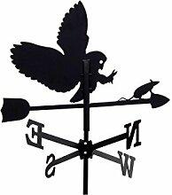 Wetterfahne 43cm Metall schwarz Motiv Eule klein Wetterhahn Windfahne Windrose