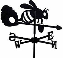 Wetterfahne Honigbiene klein 49cm schwarz Metall Wetterhahn Windfahne Windrose