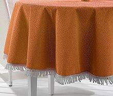 Wetterfeste Garten Balkon Terrasse Camping Tischdecke, Größe + Farbe wählbar (rund 150 cm cm Orange)