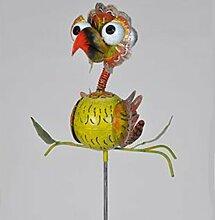 Wetterfester Metall-Gartenstecker ''Tollpatsch'' von Medusa | grün-gelb | Größe 132x47x3 cm | mit Flügelklappe für Teelicht oder Lichterkette