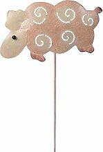 Wetterfester Metall-Gartenstecker Schaf von Medusa | 45x17x2 cm | vers. Farben (Rosa)
