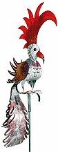 Wetterfester Metall-Gartenstecker Vogel ''Phönix'' von Medusa | im Wind drehend | silber-grün| Größe 168x19x56 cm | mit Flügelklappe für Teelicht oder Lichterkette