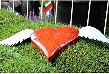 Wetterfestes Metallherz mit Flügeln von Medusa | zum Legen oder Hängen | rot glänzend | Größe M