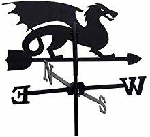 Wetterhahn 45cm Metall schwarz Motiv Drache klein Wetterfahne Windfahne Windrose